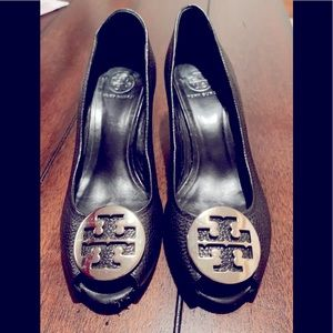 Tory Burch Black Leather Wedges